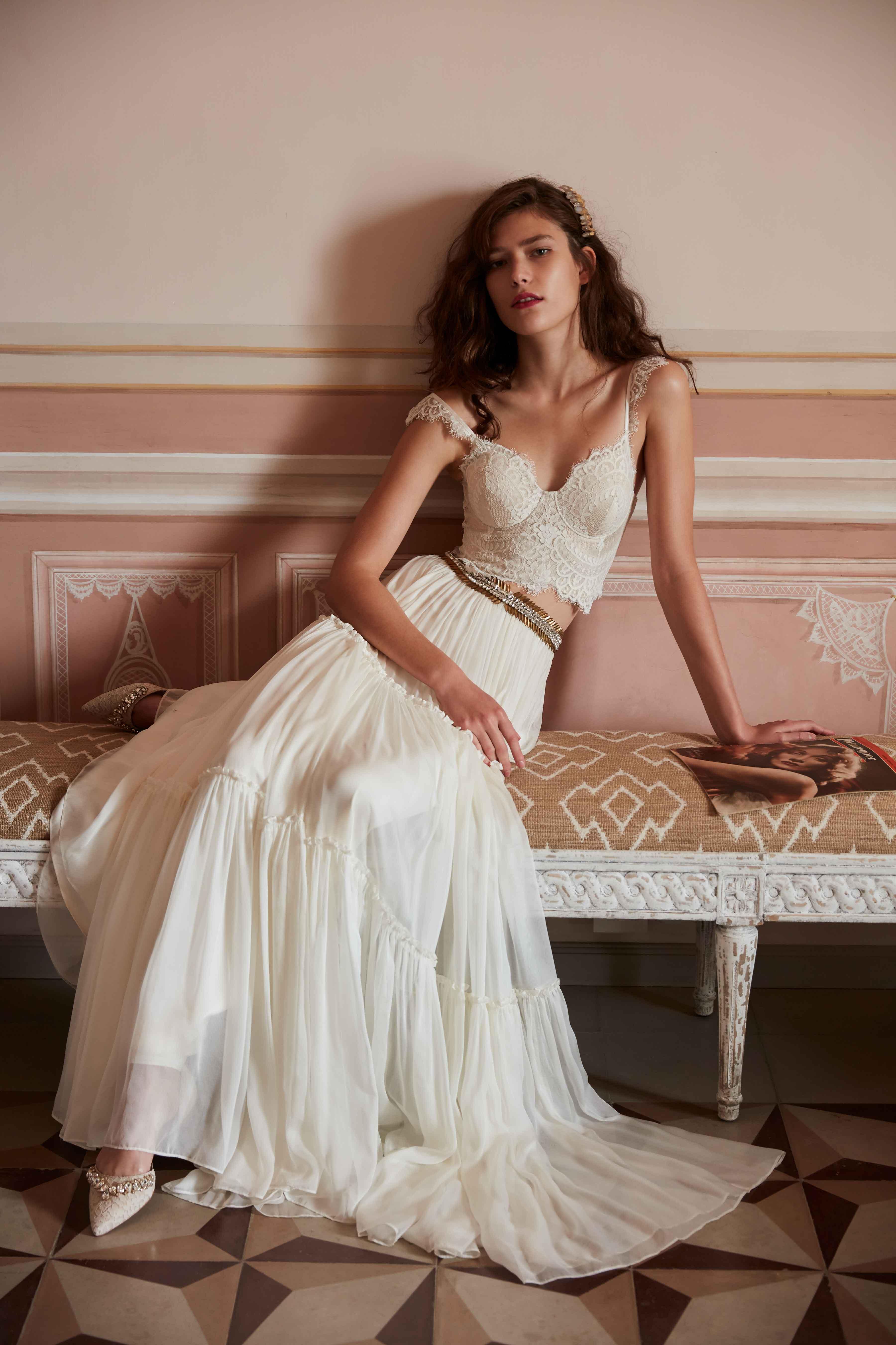 Boho chic bridal look Iris top and Agatha skirt BHLDN