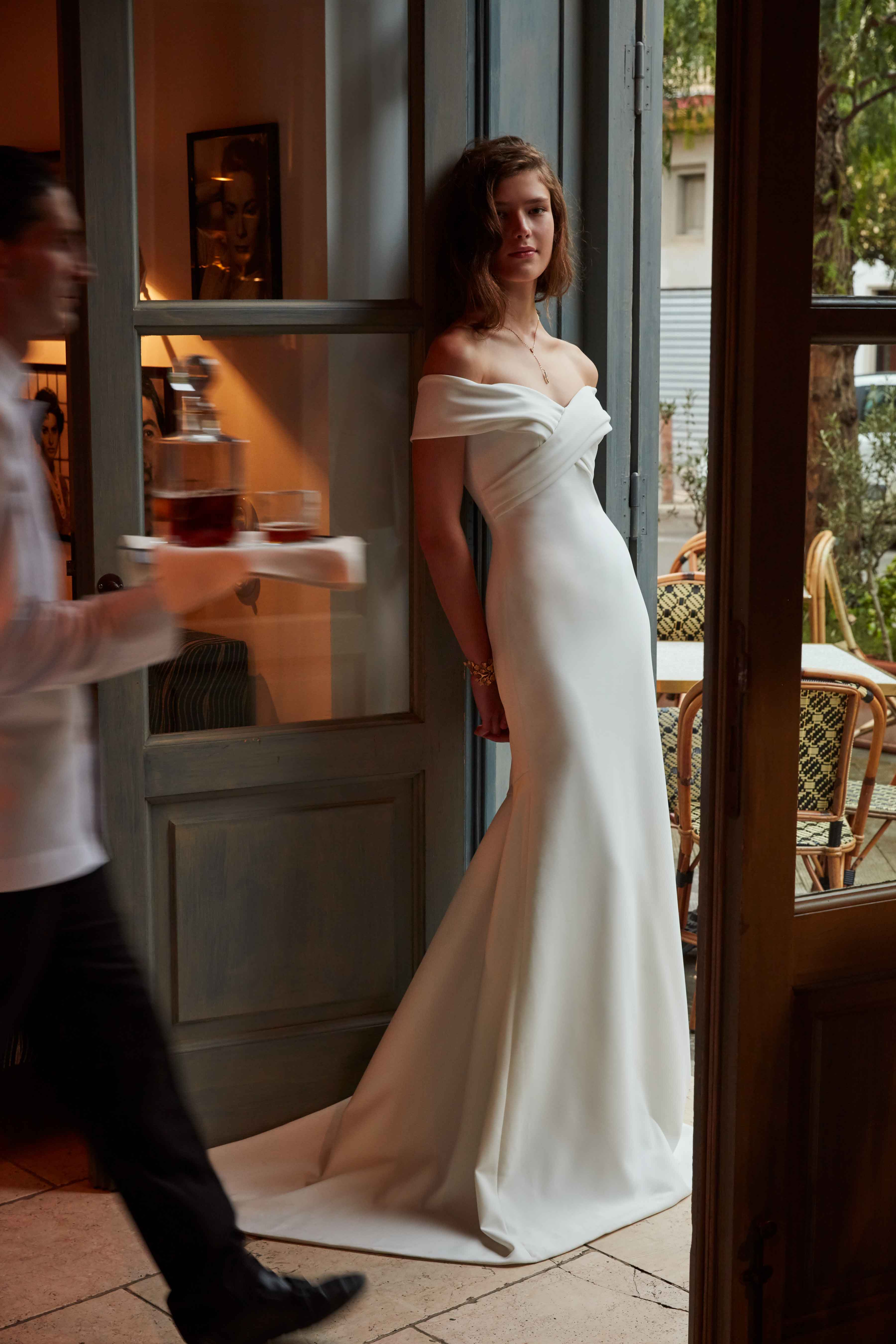 off the shoulder silk crepe wedding dress BHLDN Blake gown