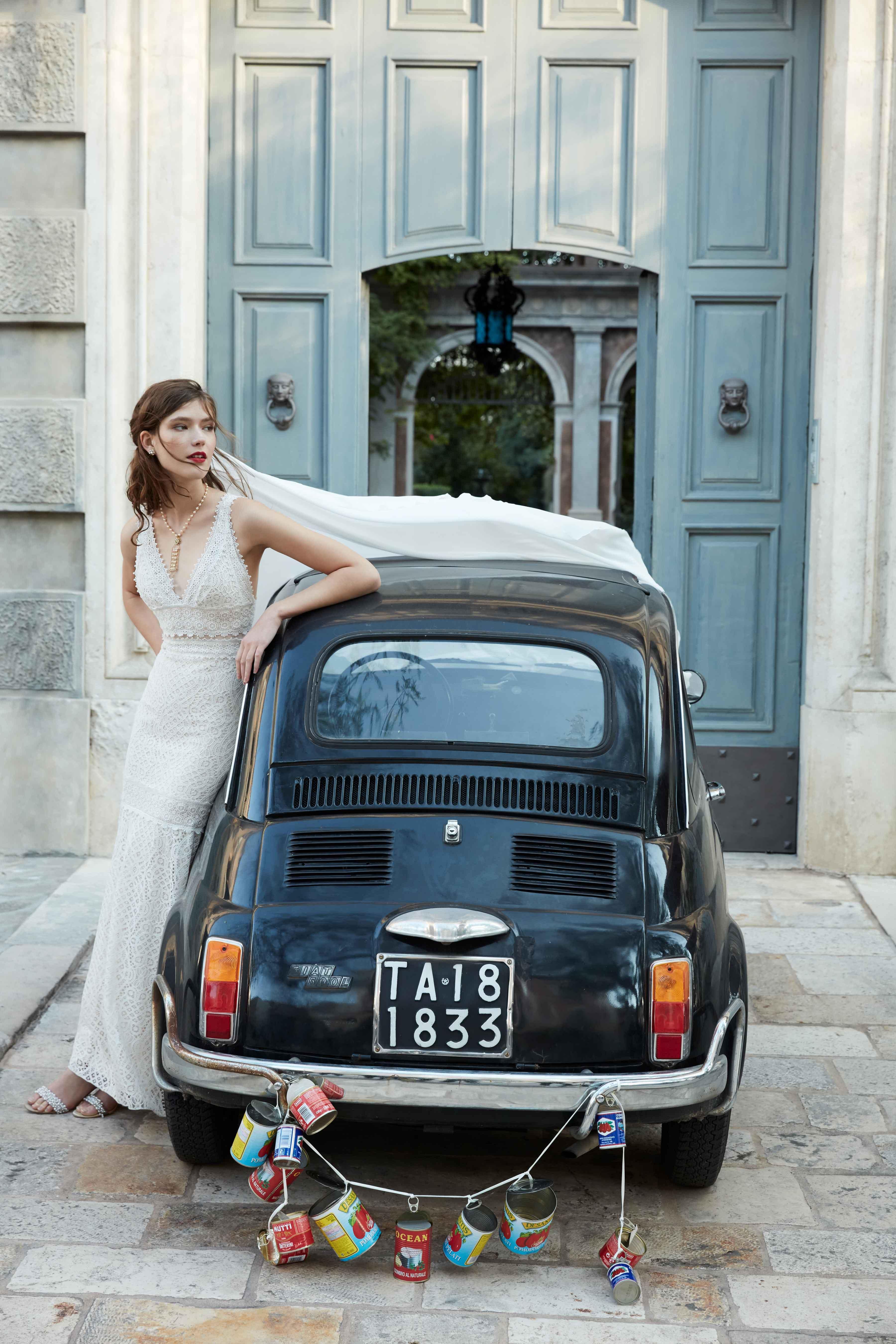 Kiely wedding dress BHLDN small car with cans just married italy BHLDN