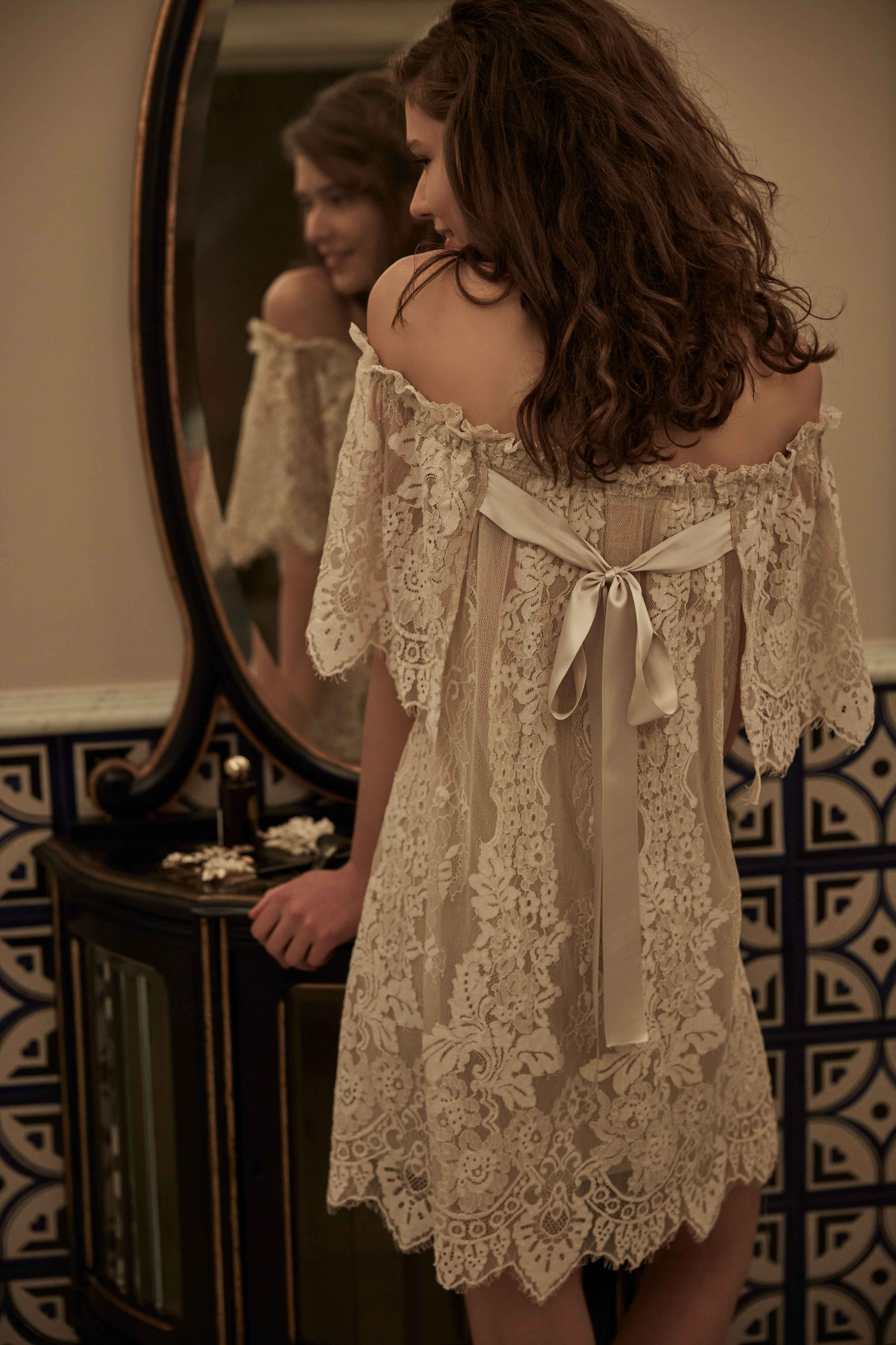 Off the shoulder lace Isla chemise with bow BHLDN