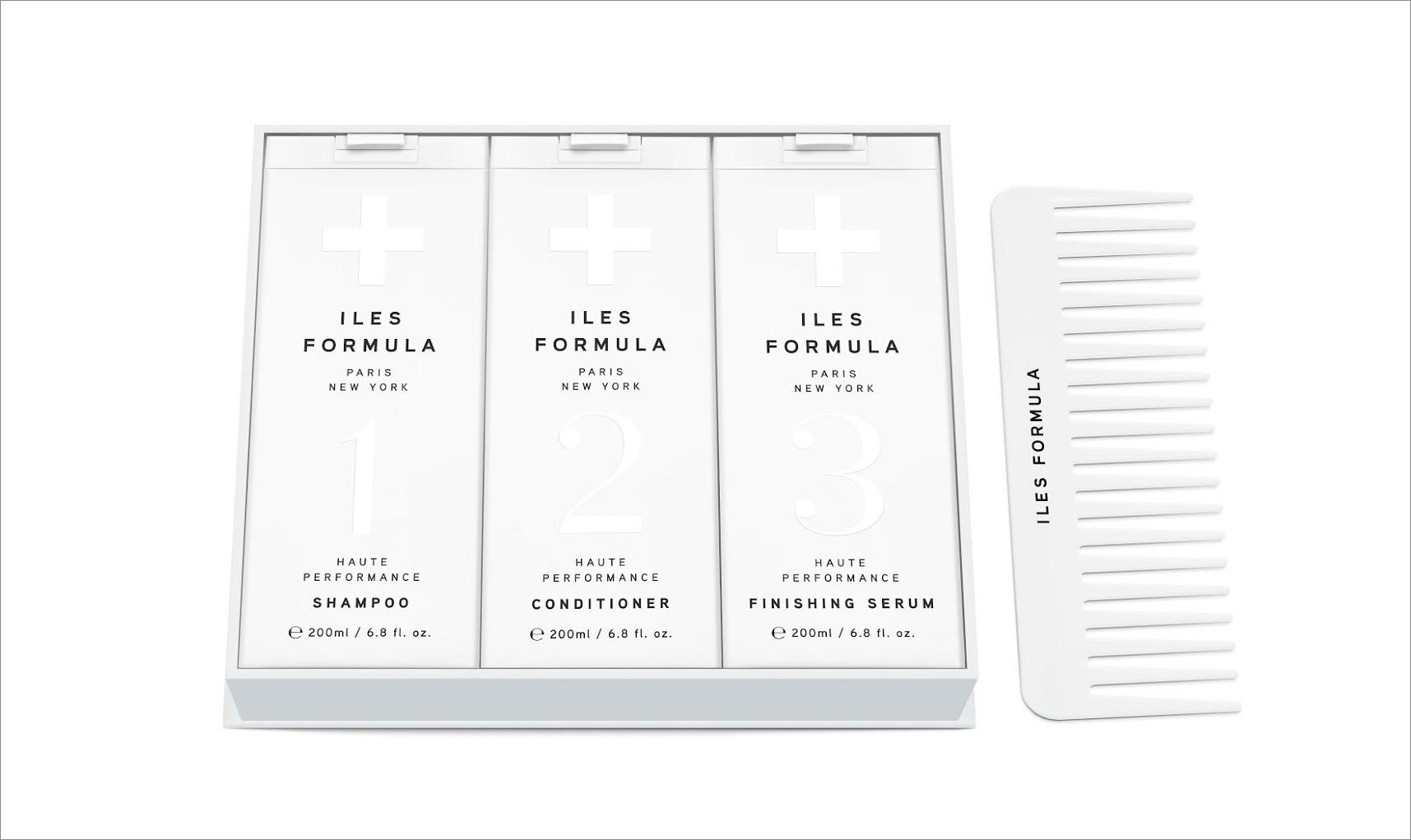 Iles Paris gift box with shampoo conditioner finishing serum and comb