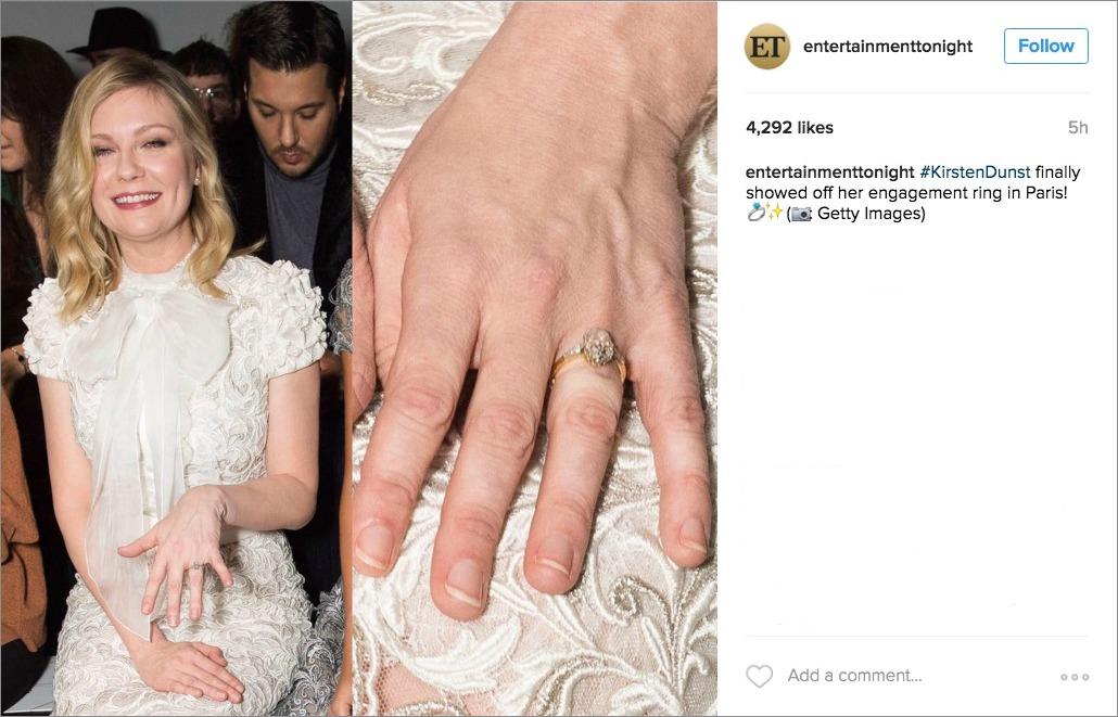 kirsten dunst shows off engagement ring at paris fashion week