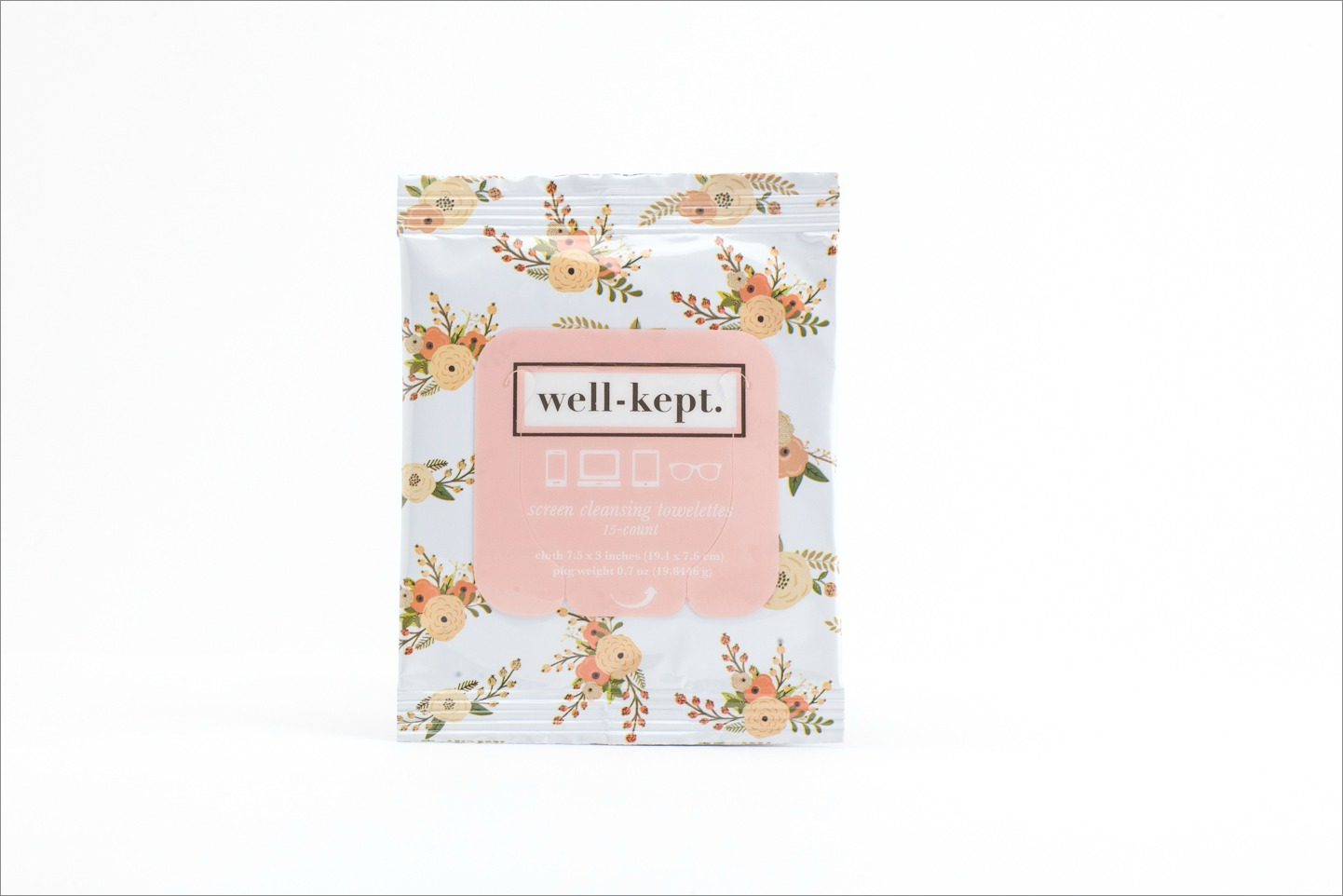 Well-Kept Screen cleansing towelettes in cute packaging