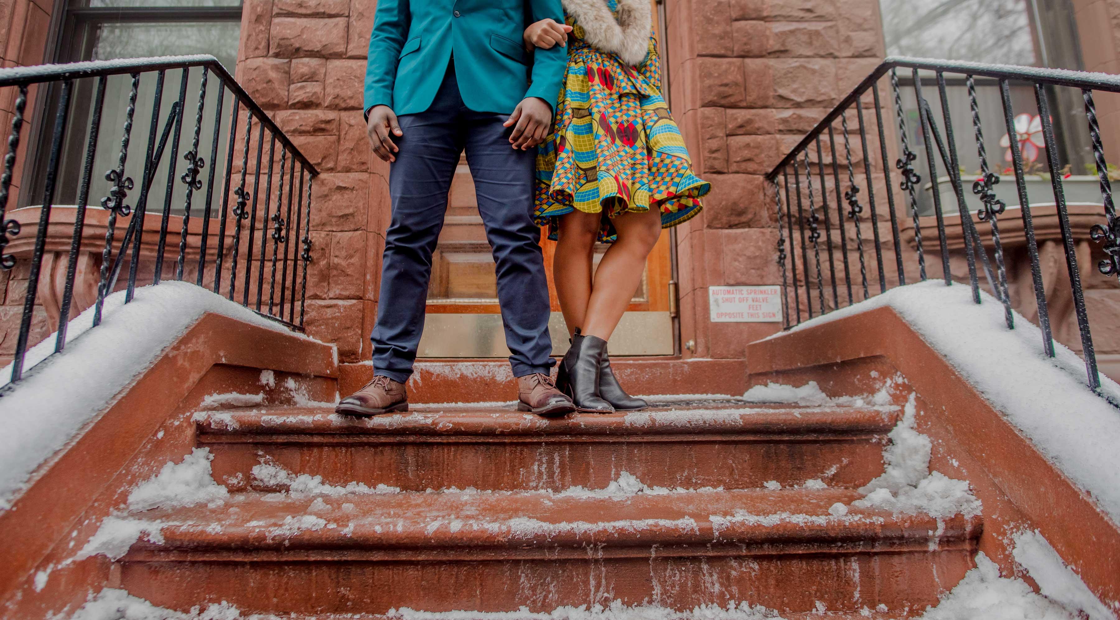 Kesha Lambert Photography Harlem New York engagement session brownstone city