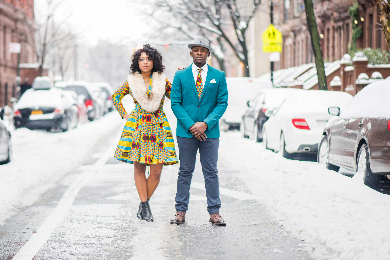 Bride and groom in snow New york City neighborhood harlem snowy