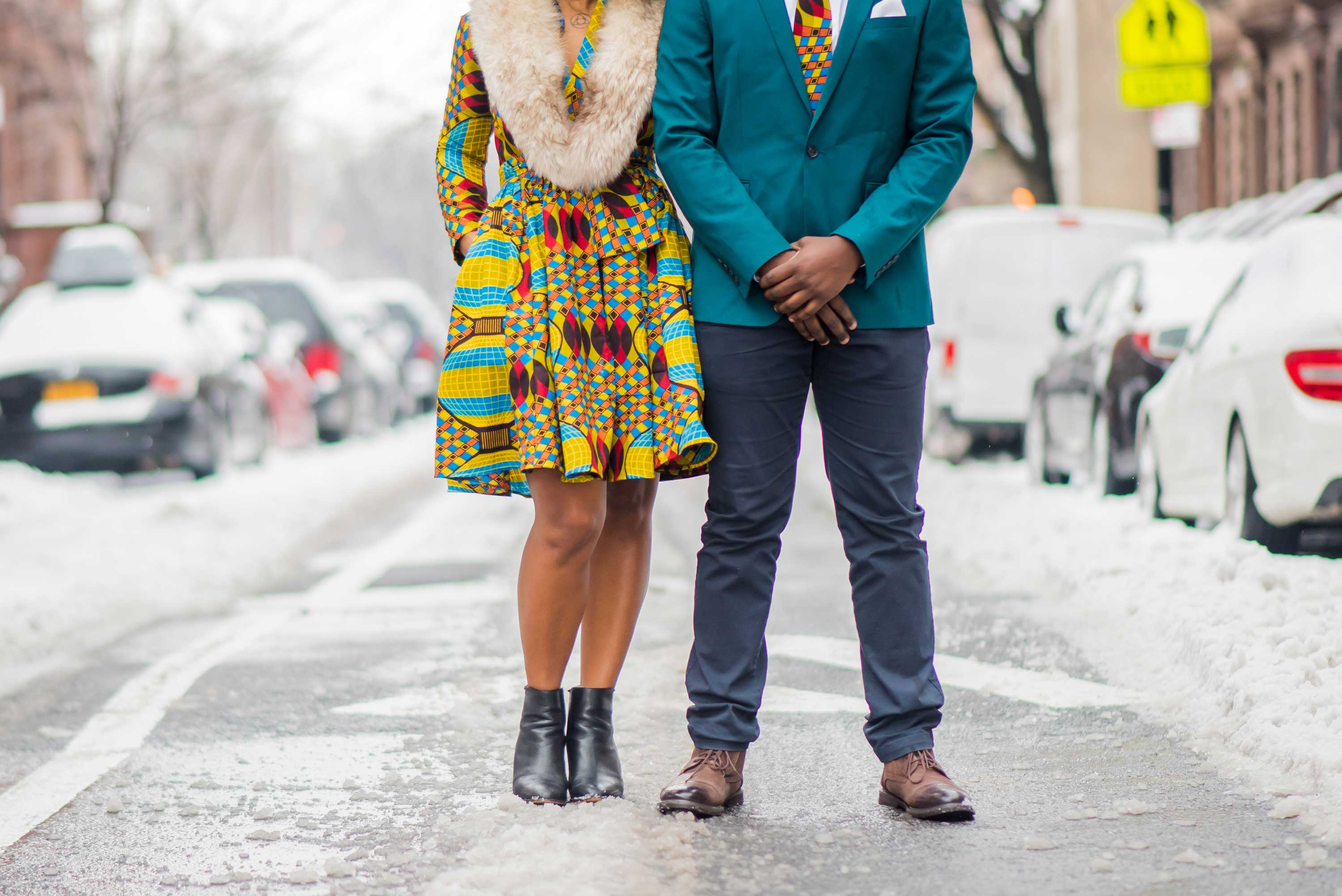 Close up of bride and groom's feet engagement photo engaged snowy New York City session