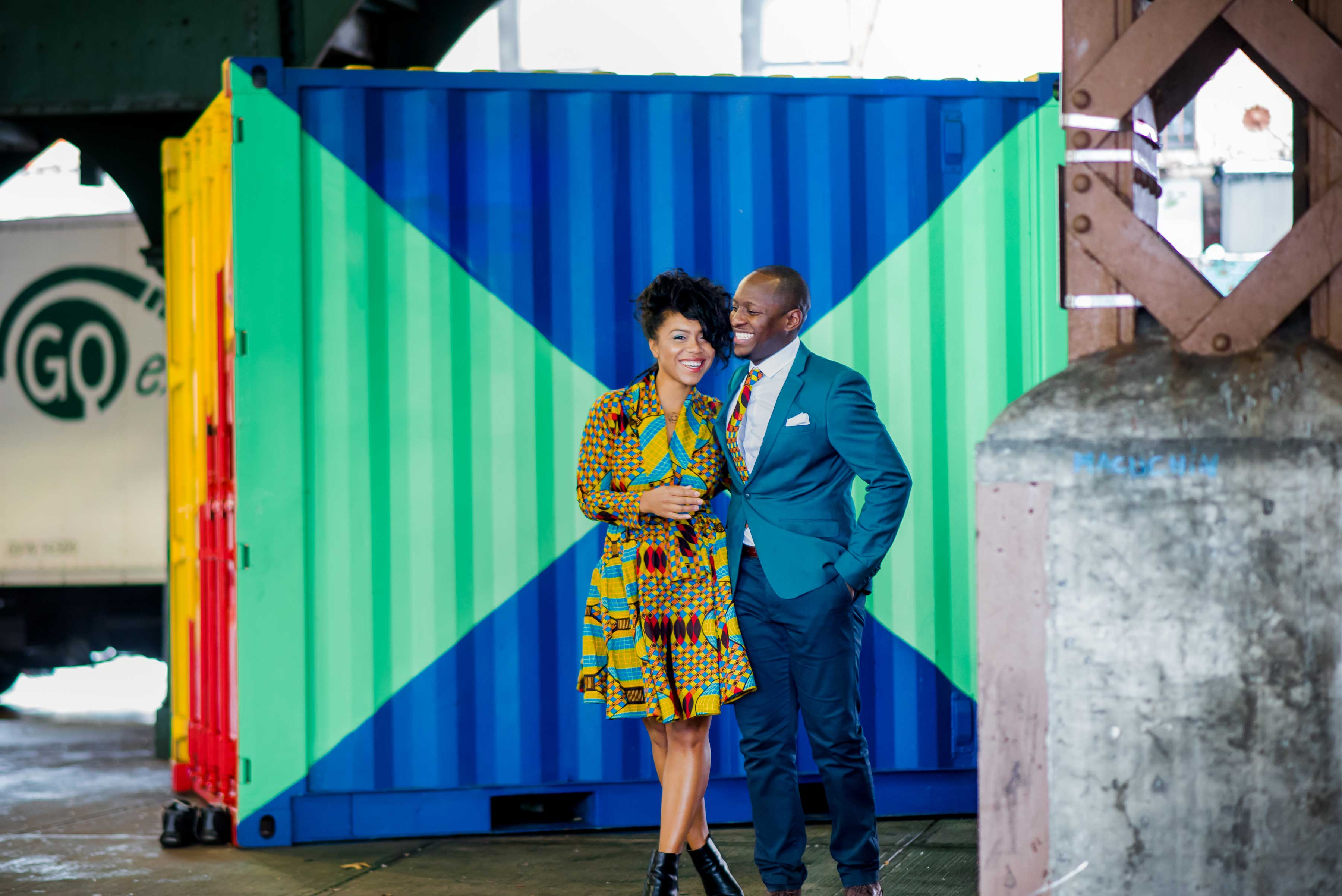 Bride smiling during colorful engagement session in Harlem New York City