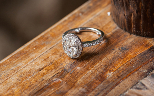 oval diamond halo engagement ring, pavé band, white gold