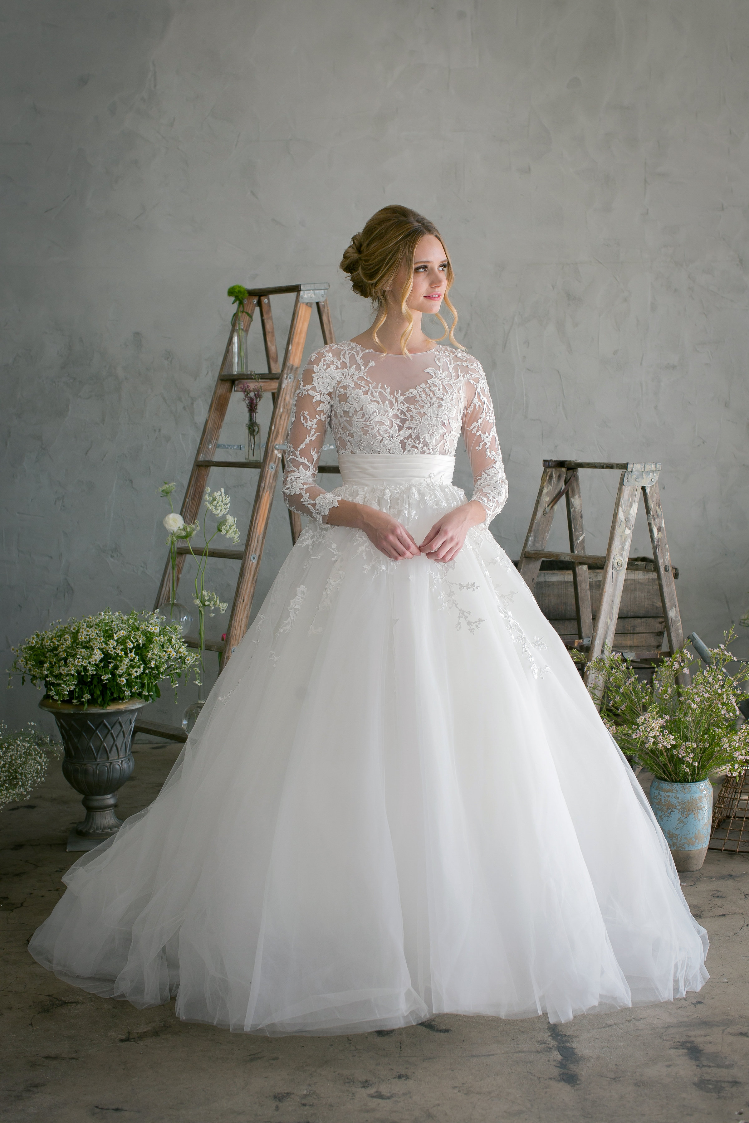 jinza couture bridal 2017 christina, ball gown, longsleeves, sheer lace top