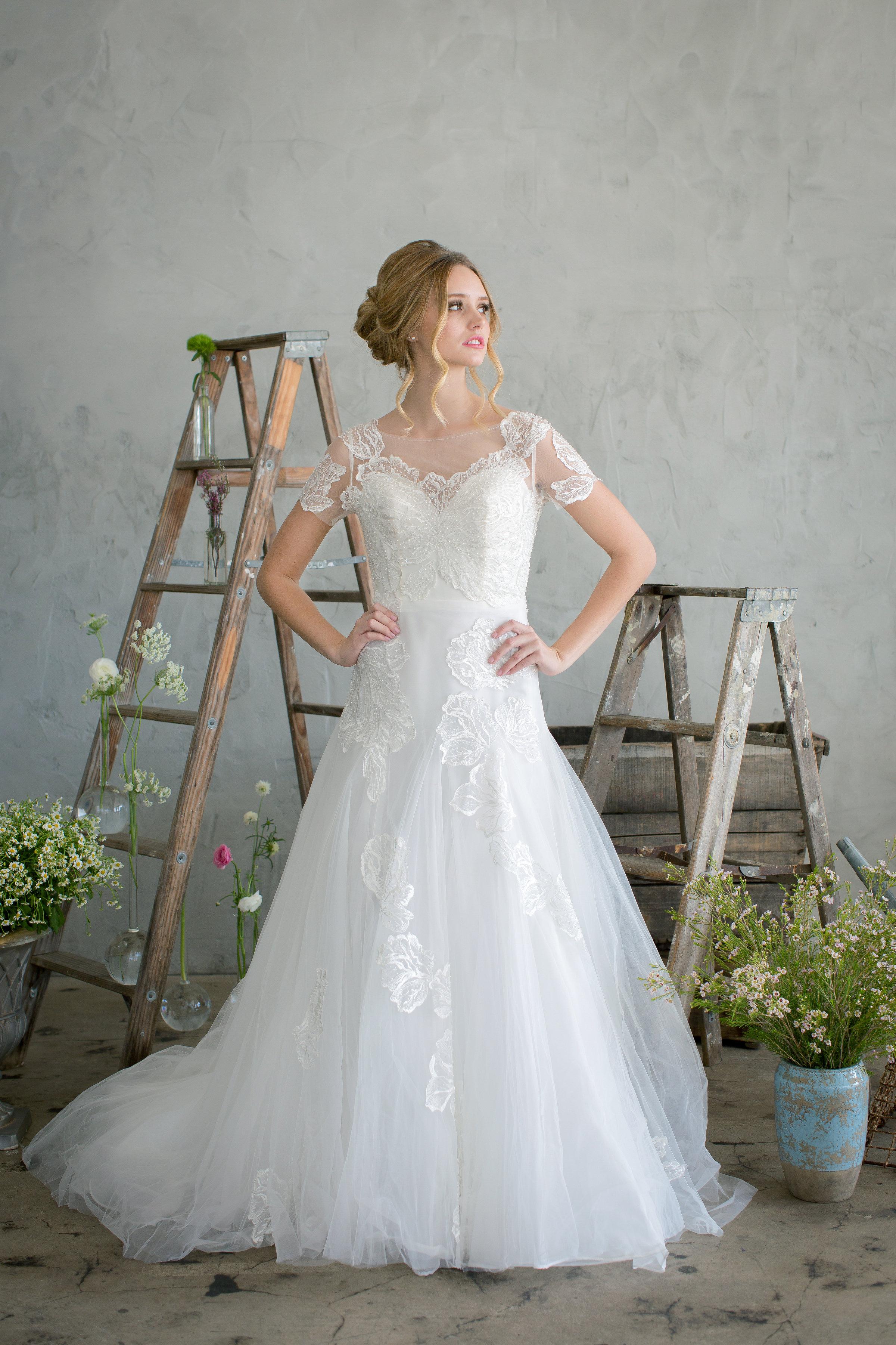 jinza bridal couture 2017 lennie cap sleeve, dropped waist, soft lace applique