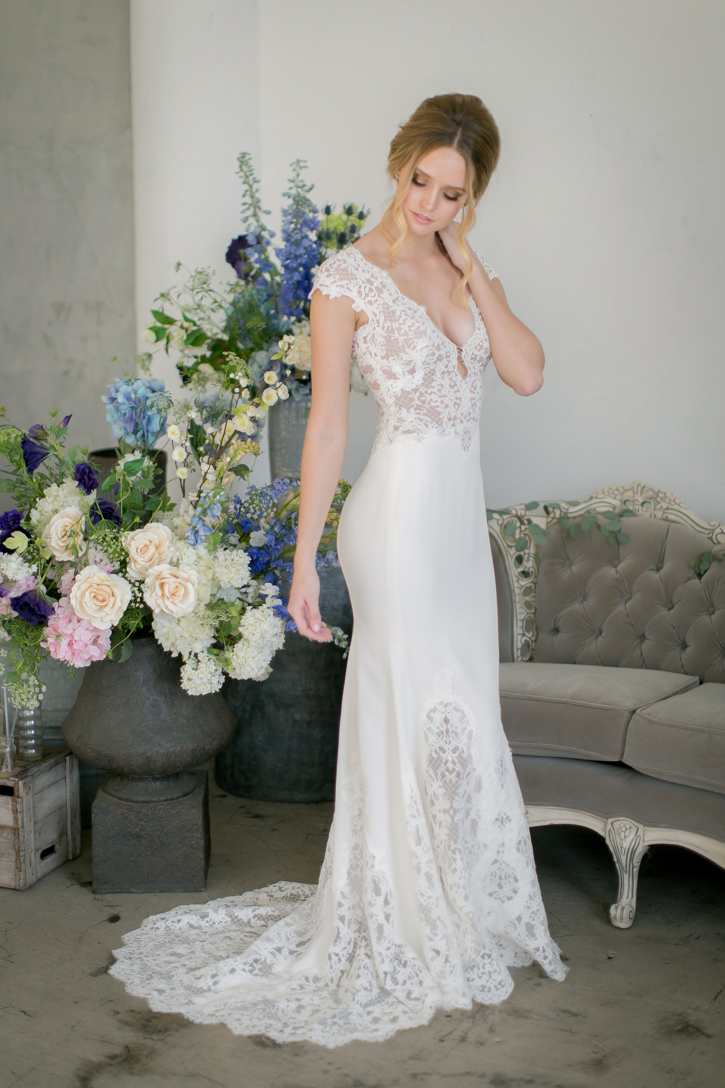 jinza couture bridal 2017 shannon, fit and flare french alencon lace with silk crepe skirt with lace inserts