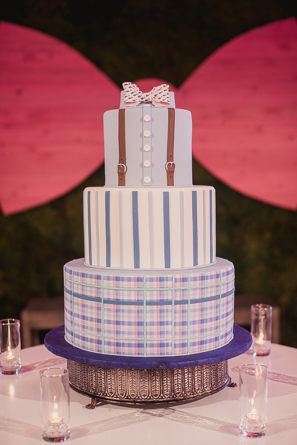preppy groom's cake with button-up shirt, suspenders, bow tie made from fondant