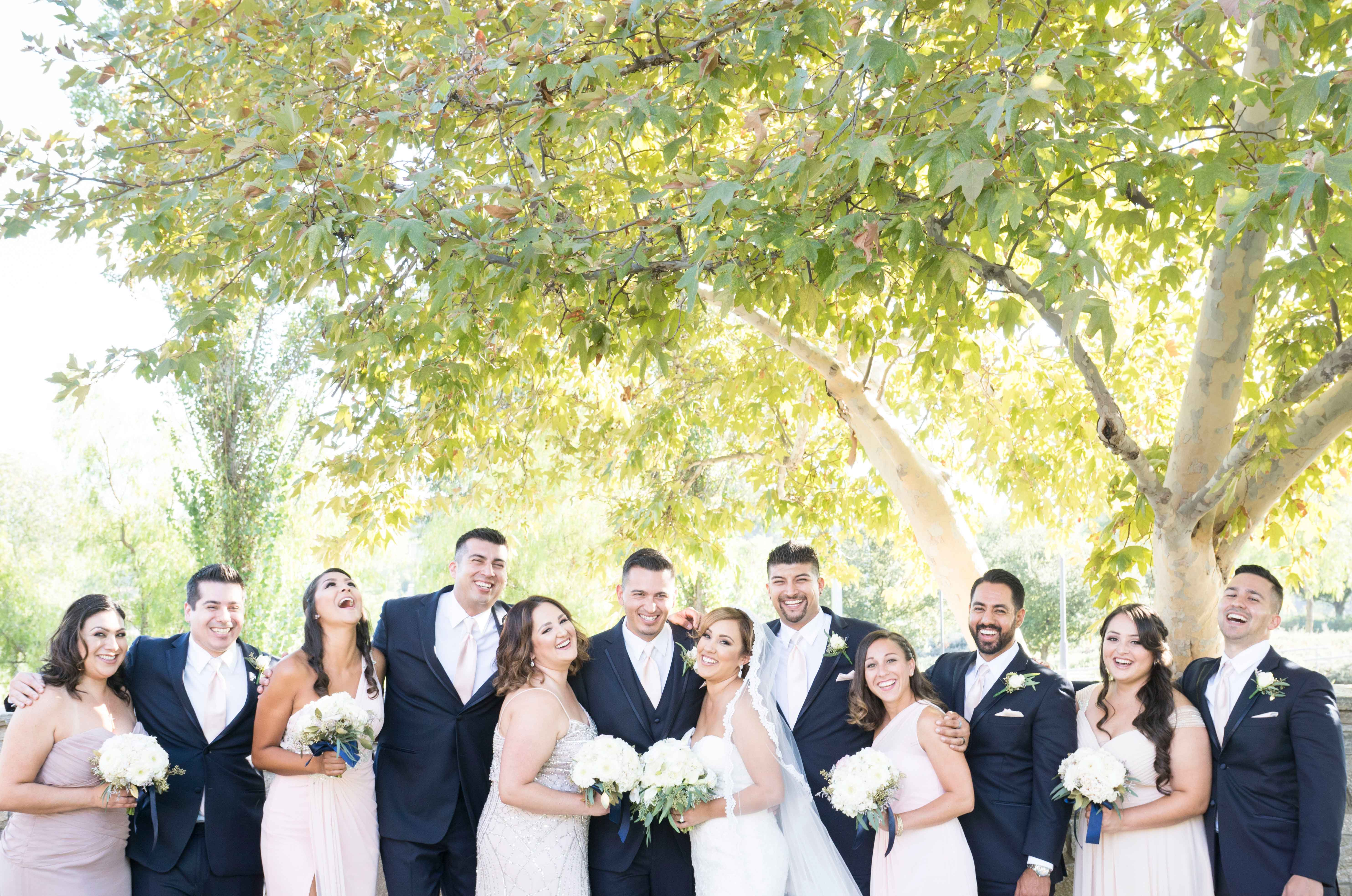 bridal party with bridesmaids and groomsmen alternating, arms around shoulders and laughing