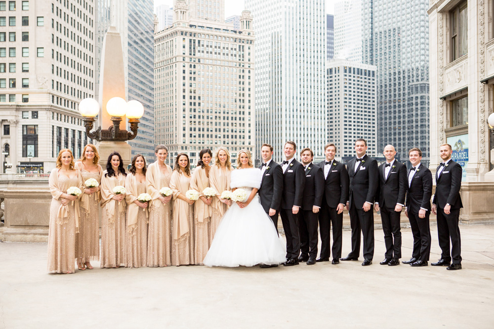 group shot of bridal party, bridesmaids on one side, groomsmen on the other side