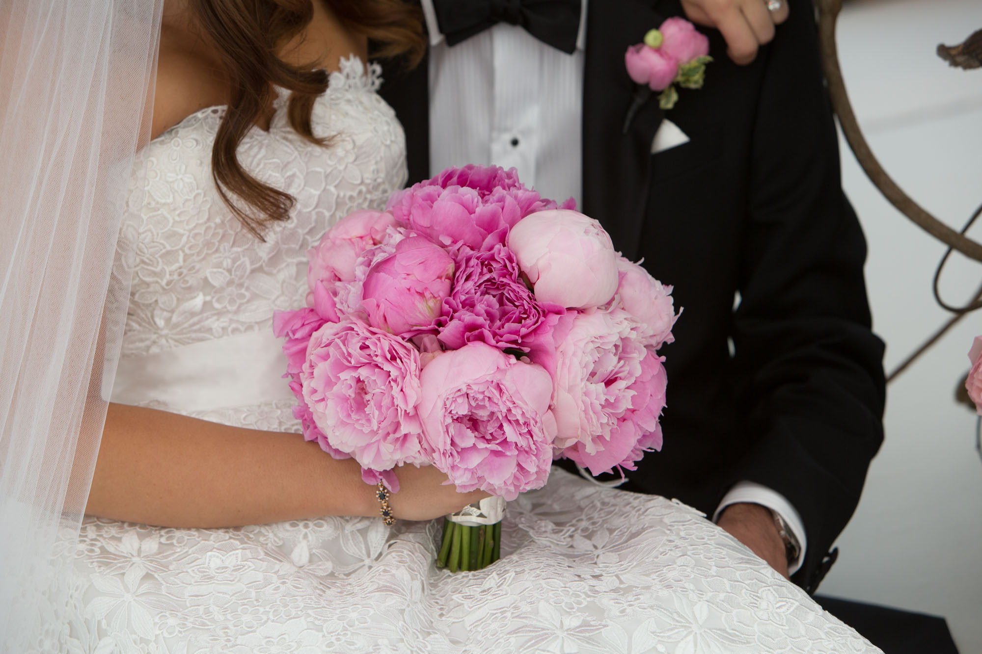 bridal bouquet of peonies in shades of pink