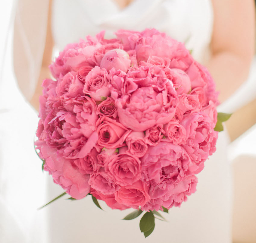 bubblegum pink bridal bouquet with roses and peonies
