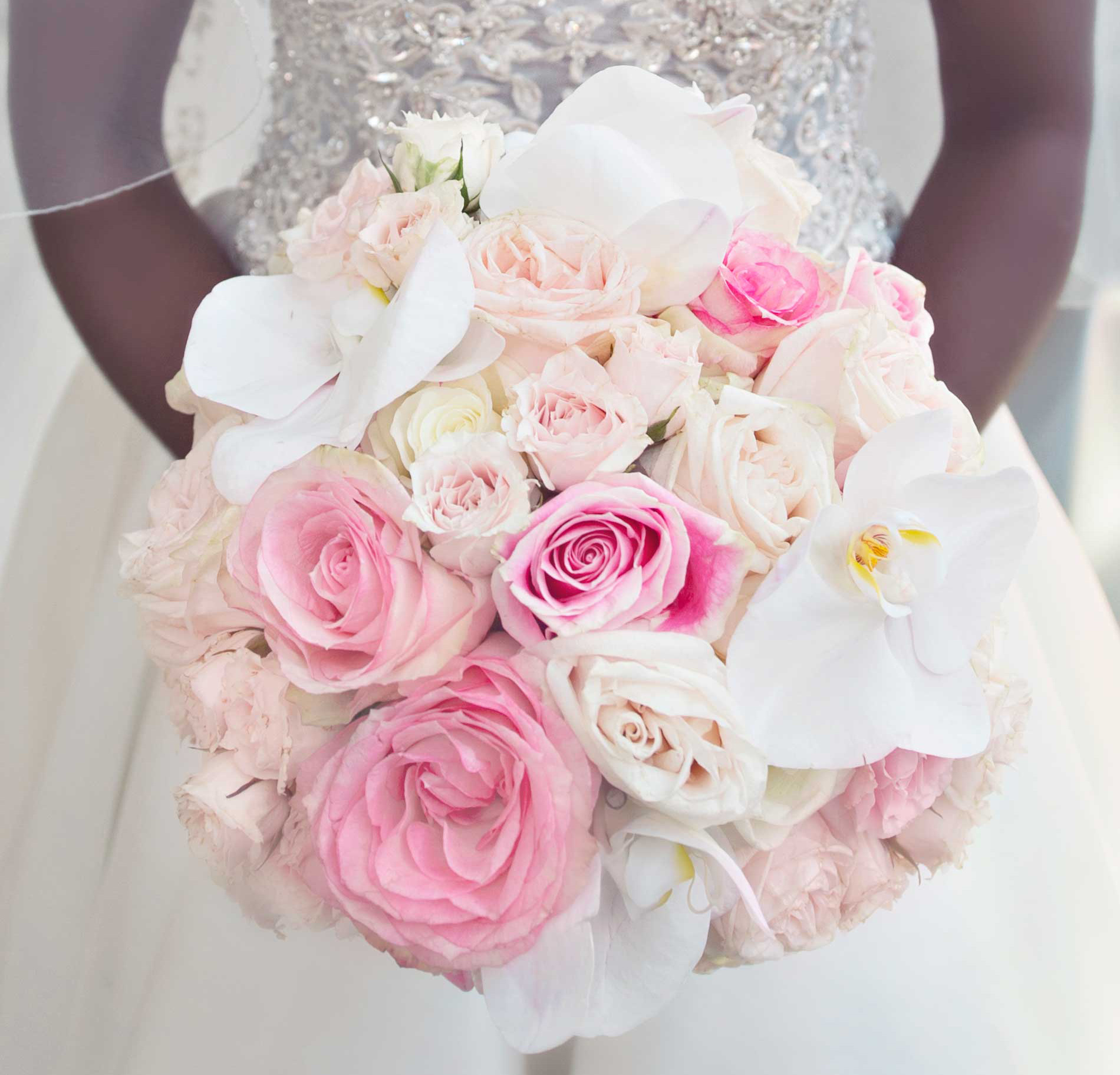 bridal bouquet with pink roses and white orchids