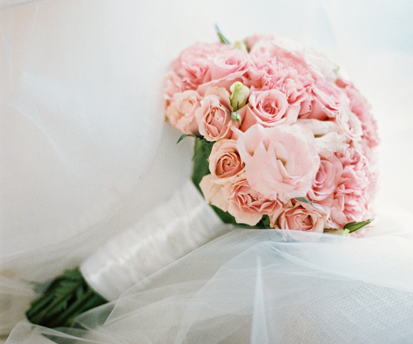 bridal bouquet with peach roses, pink roses, blush peonies
