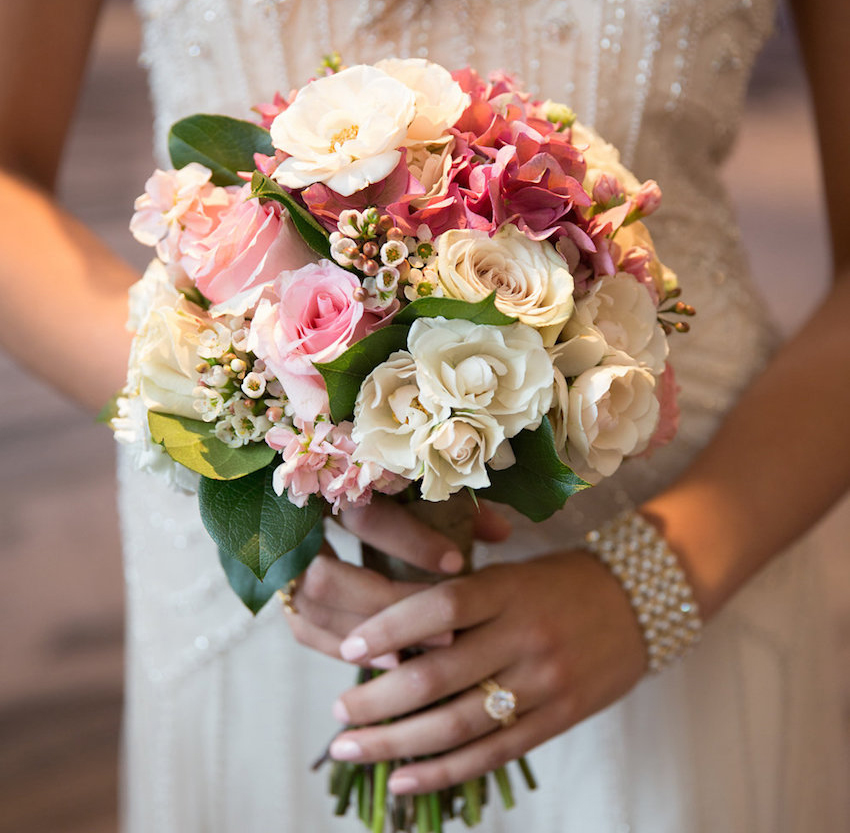 bridal bouquet with pink and white roses and hydrangeas