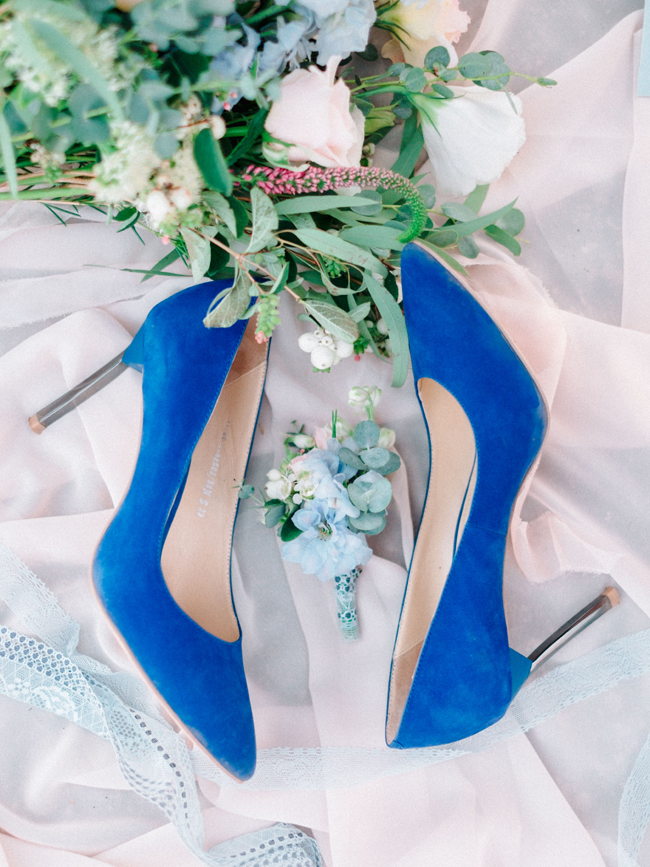 Cobalt blue suede wedding shoes bridal heels elopement