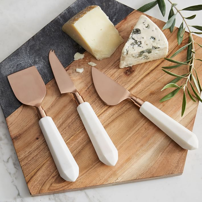 Marble and copper cheese knives set of 3 from west elm