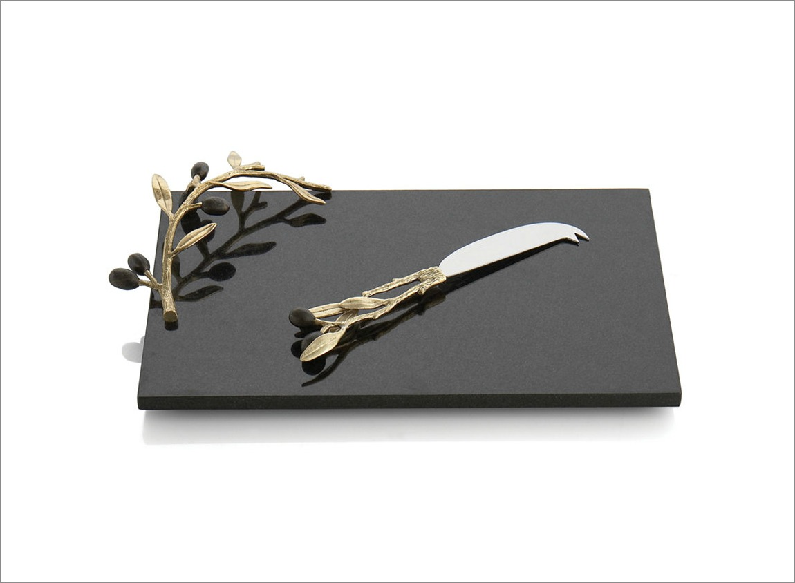 Michael Aram Olive Branch Gold Cheese board with knife granite bronze