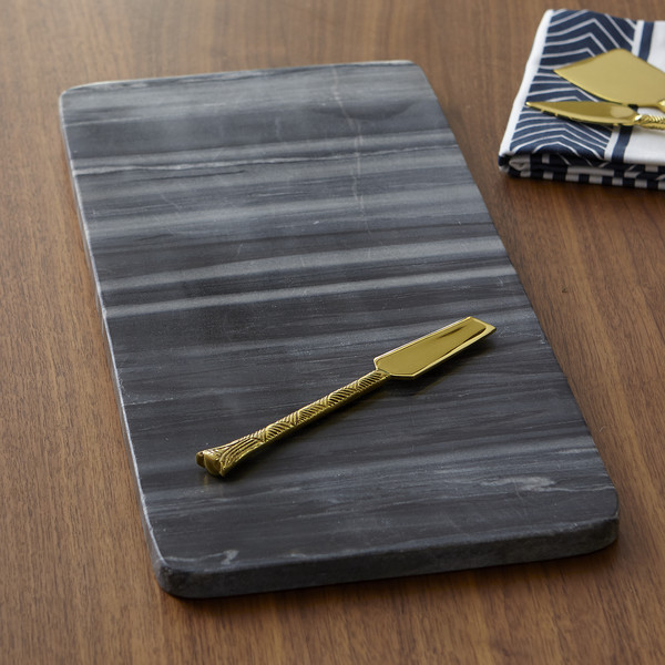 Linde Marble Cheese Board from Joss & Main black with gold knife