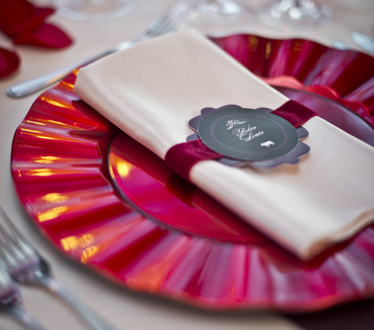red, crimson, scarlet charger plate with wavy edges