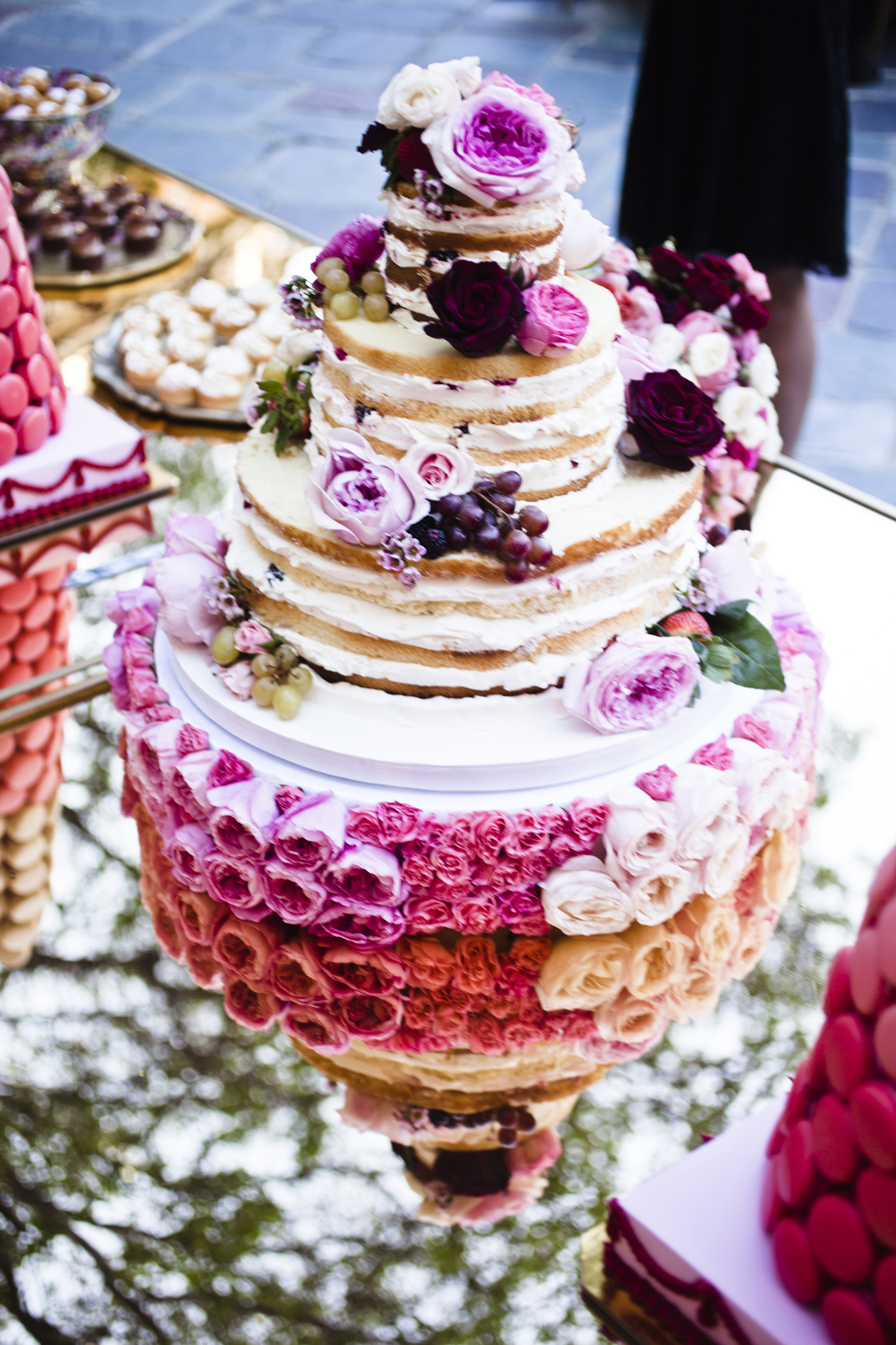 three=-tiered naked cake with fresh flowers, nikki sixx wedding cake