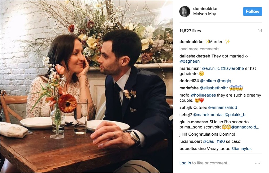 penn badgley and domino kirke wedding, laidback celebrity wedding