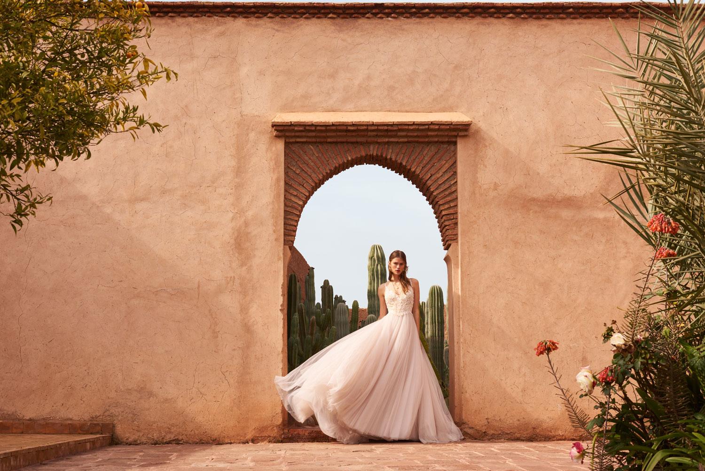 Chantal wedding dress with v neckline blush bridal gown BHLDN Watters