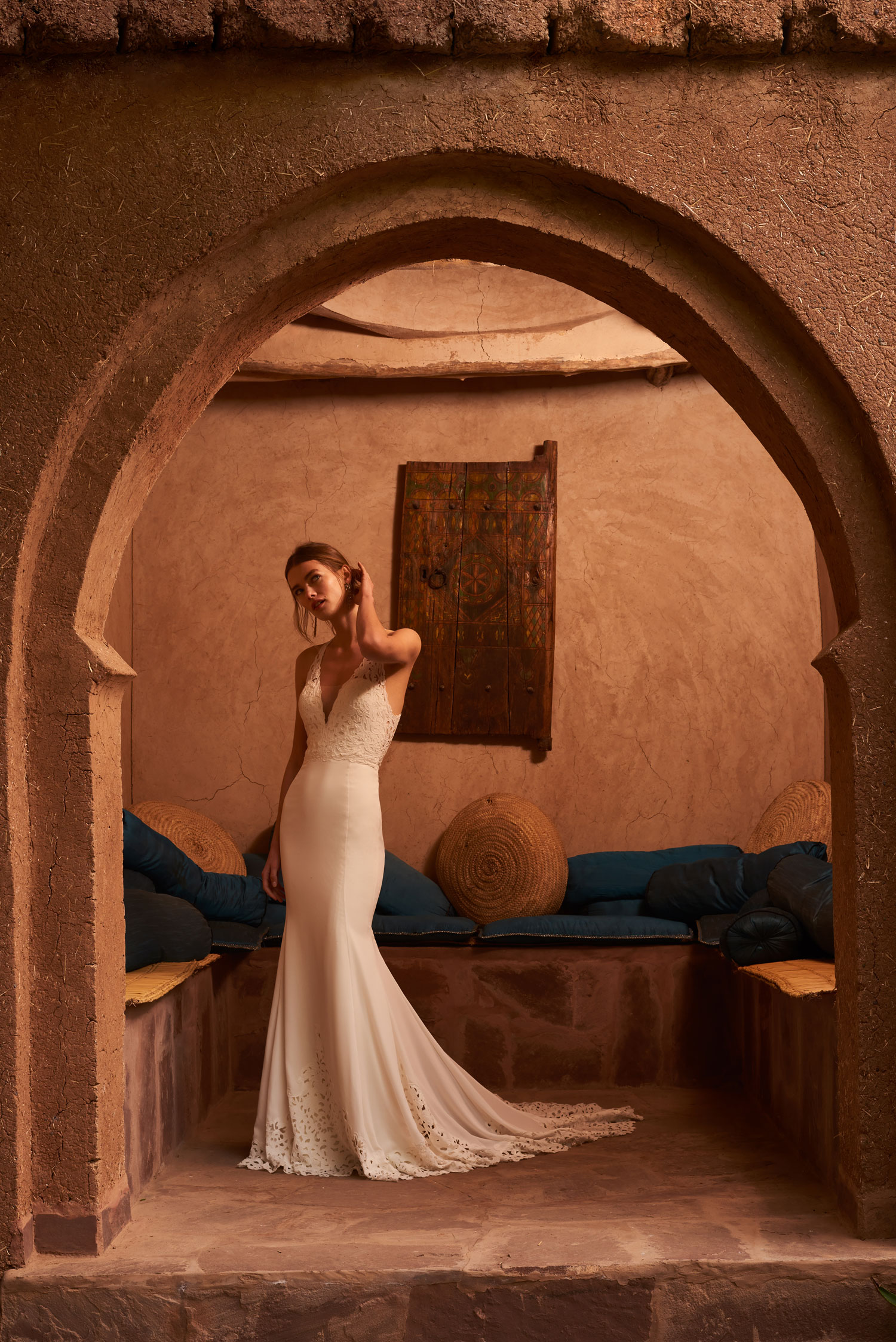 Crus crepe halter wedding dress v neck and laser cut detailing Watters BHLDN