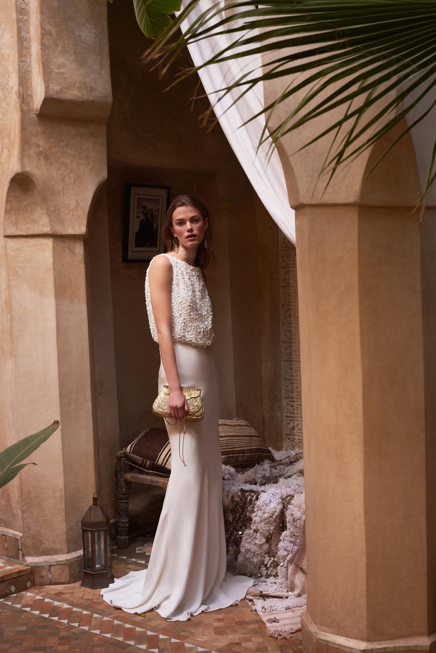 Imogene wedding dress blouson bodice crepe skirt Something Blue Vancouver BHLDN boho chic
