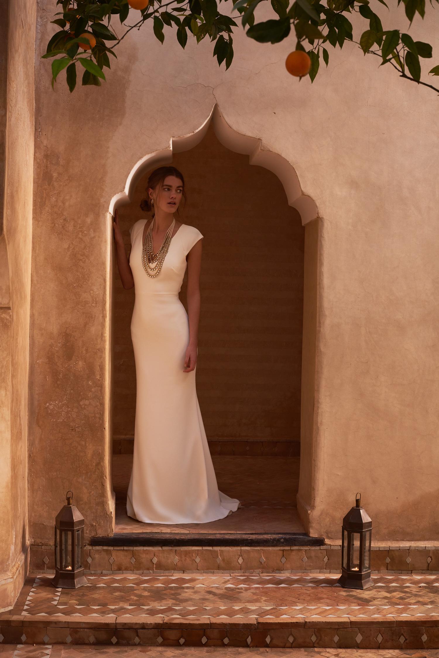 Sawyer V neck wedding dress in white crepe material Badgley Mischka for BHLDN boho chic