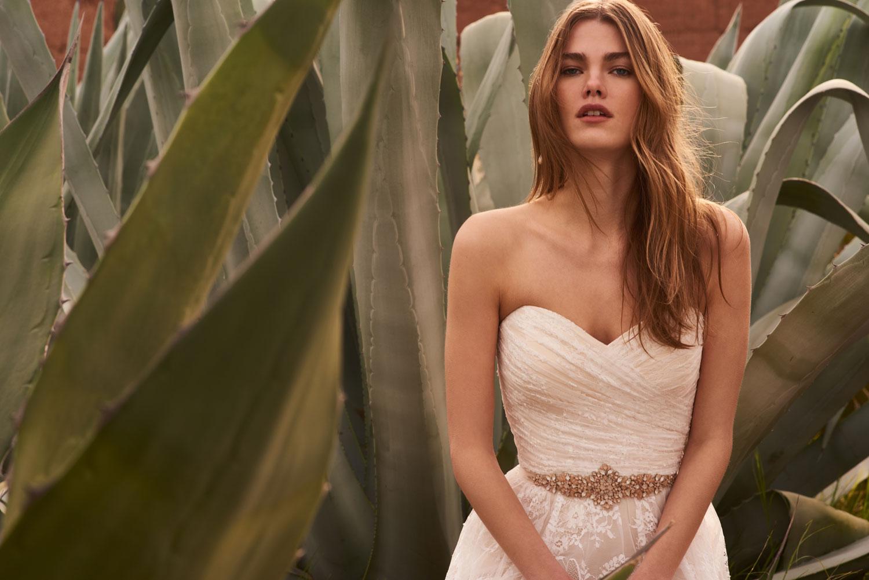 Freesia strapless sweetheart neckline wedding dress ruching on bodice and full skirt bhldn
