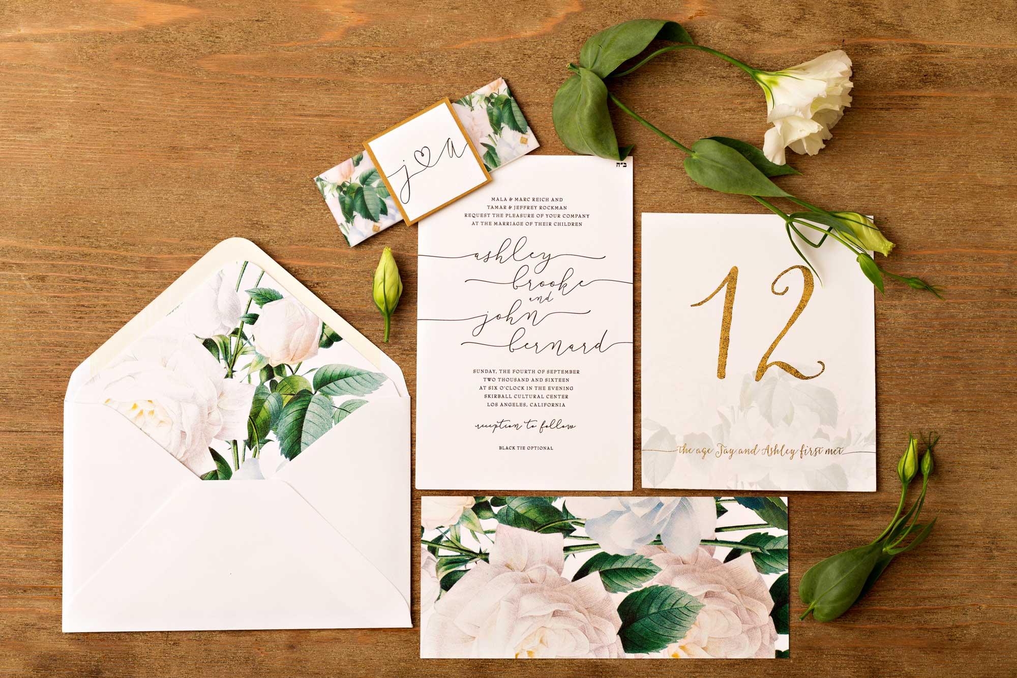 Inside Weddings Spring 2017 issue flower print wedding invitation suite envelope liner