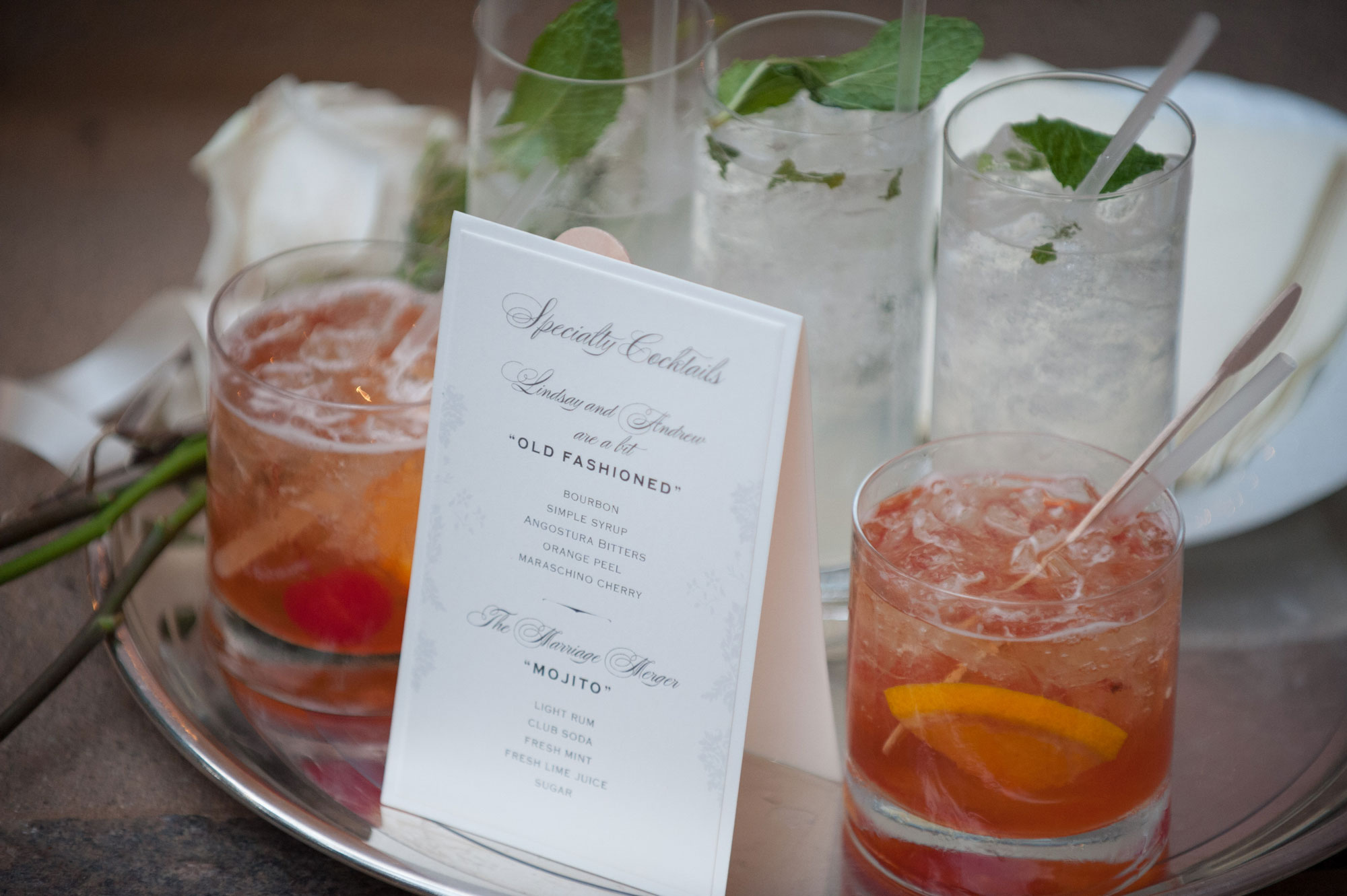 Inside Weddings Spring 2017 issue Signature cocktails and lehr and black details