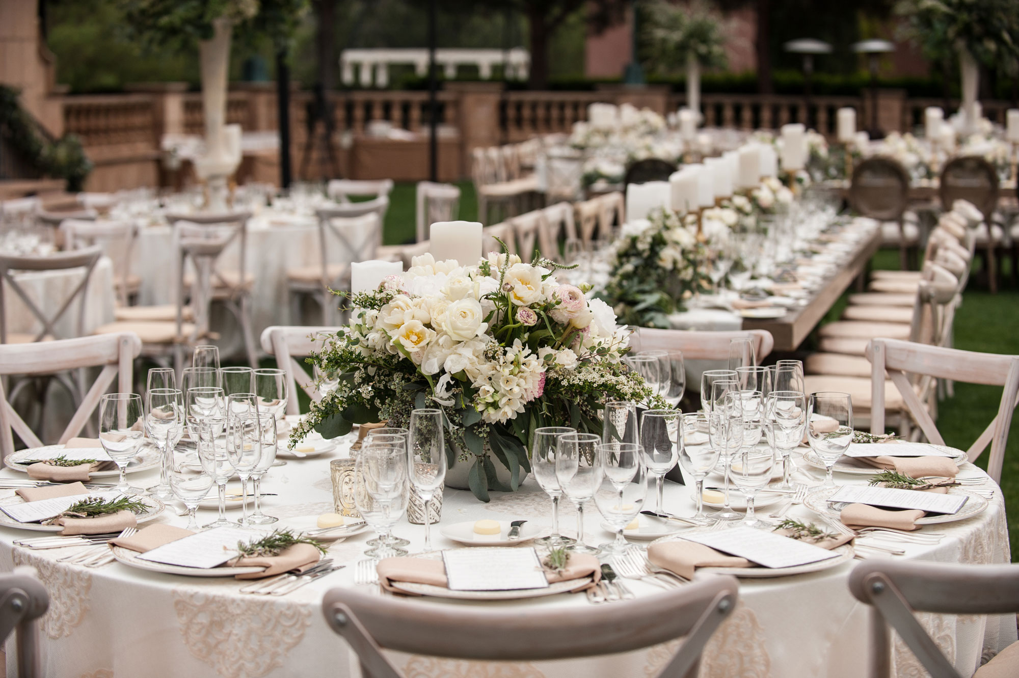Inside Weddings Spring 2017 issue outdoor wedding with soft color palette in Del Mar, California