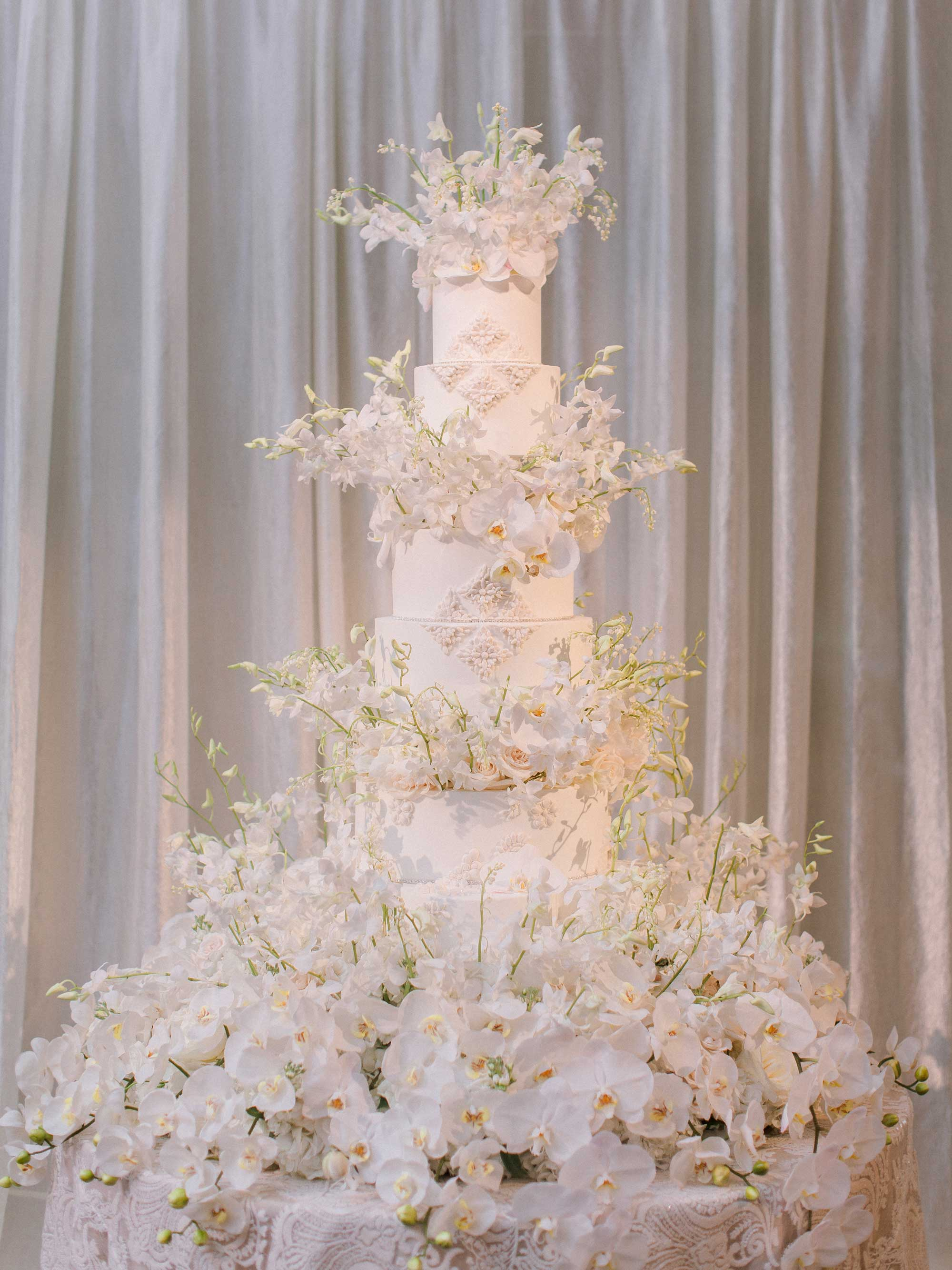 Inside Weddings Spring 2017 issue beautiful white cake with fresh flower decorations wedding reception in Dallas Bella Flora of Dallas
