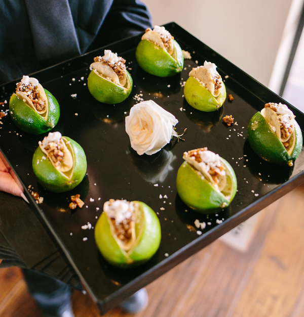 mini tacos in limes for wedding appetizer, st. patrick's day green wedding inspiration