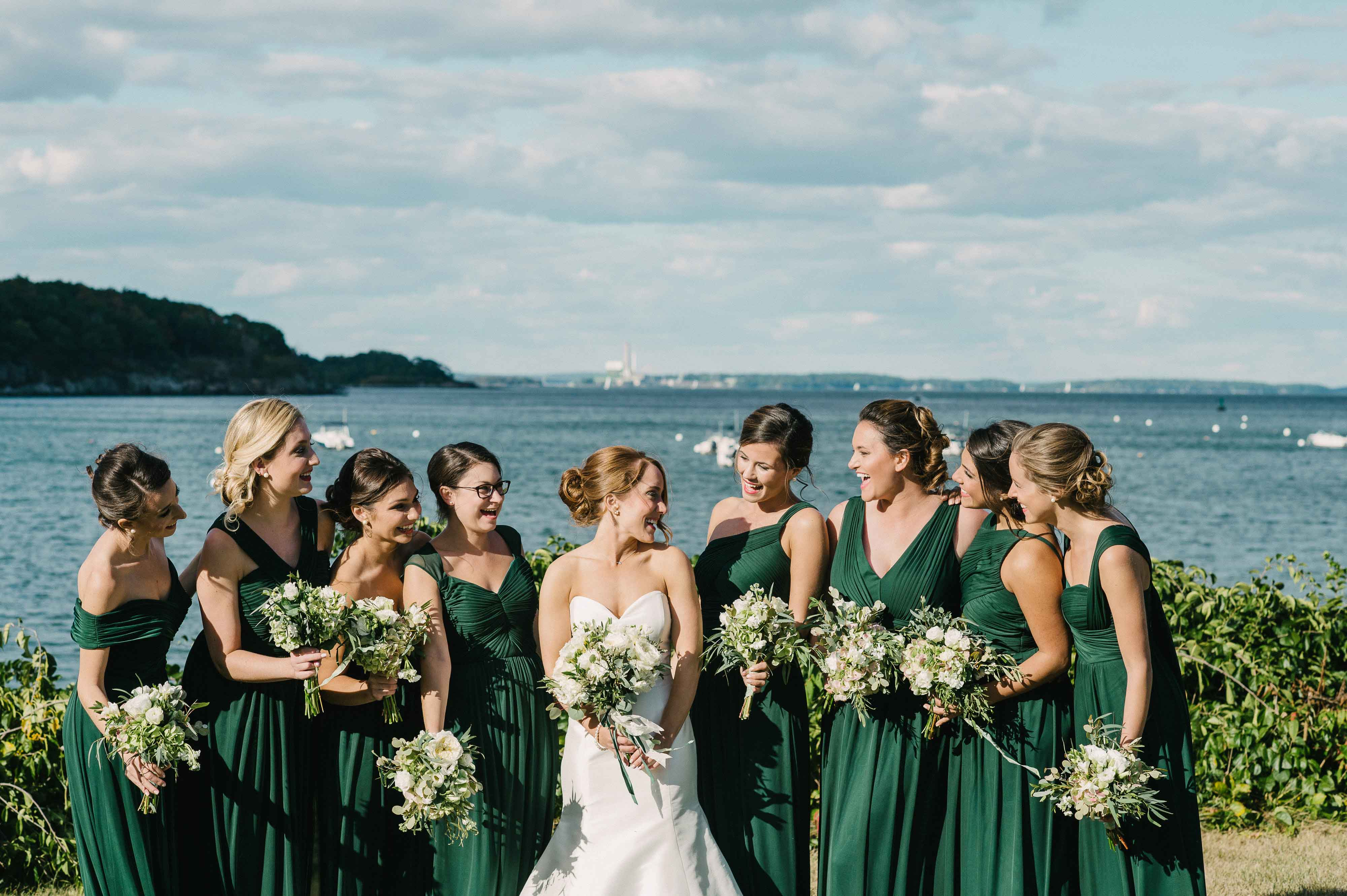 bridesmaids in forest green dresses, st. patrick's day wedding inspiration