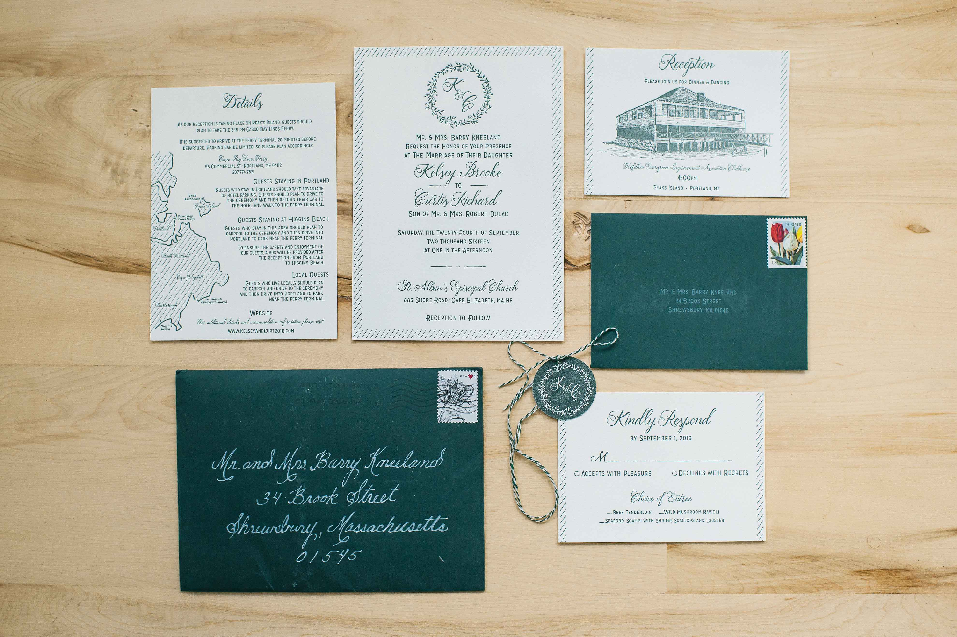 green wedding invitation suite, st. patrick's day wedding inspiration