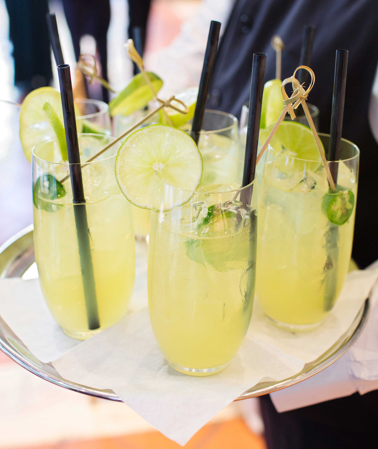margaritas with lime and jalapeño wedding cocktail, st. patrick's day green wedding inspiration