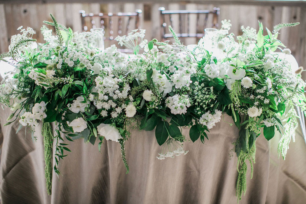 sweetheart table with greenery and white flowers, st. patrick's day green wedding inspiration