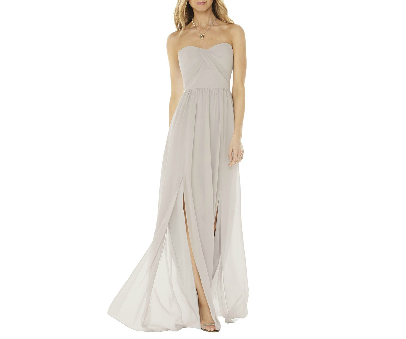 Strapless Georgette Gown bridesmaid dress in Oyster at Nordstrom