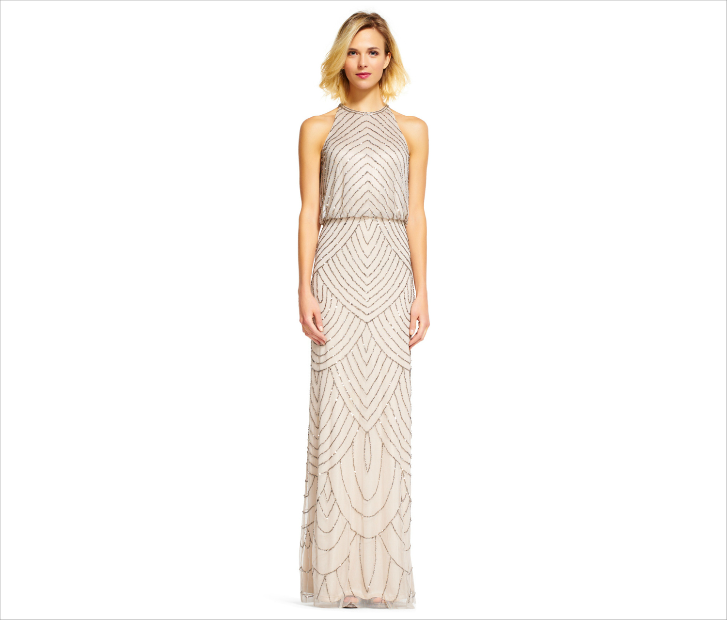 Adrianna Papell Art Deco beaded blouson bridesmaid dress with halter neckline nude beaded bridesmaid dress