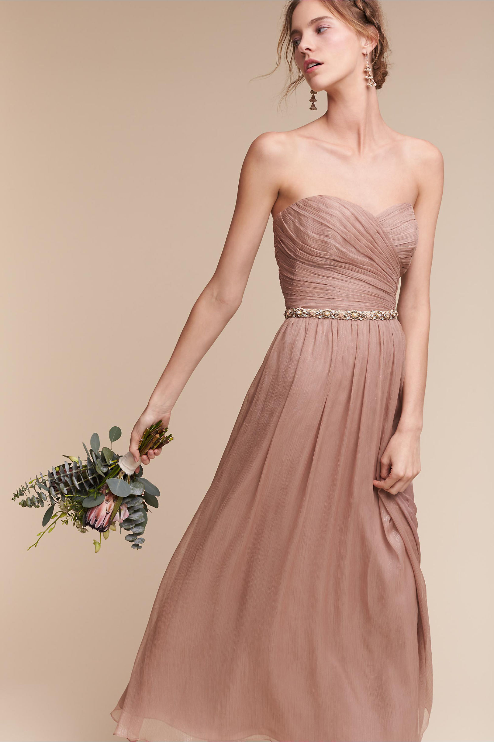 BHLDN Della bridesmaid dress rose Monique Lhuillier Bridesmaids