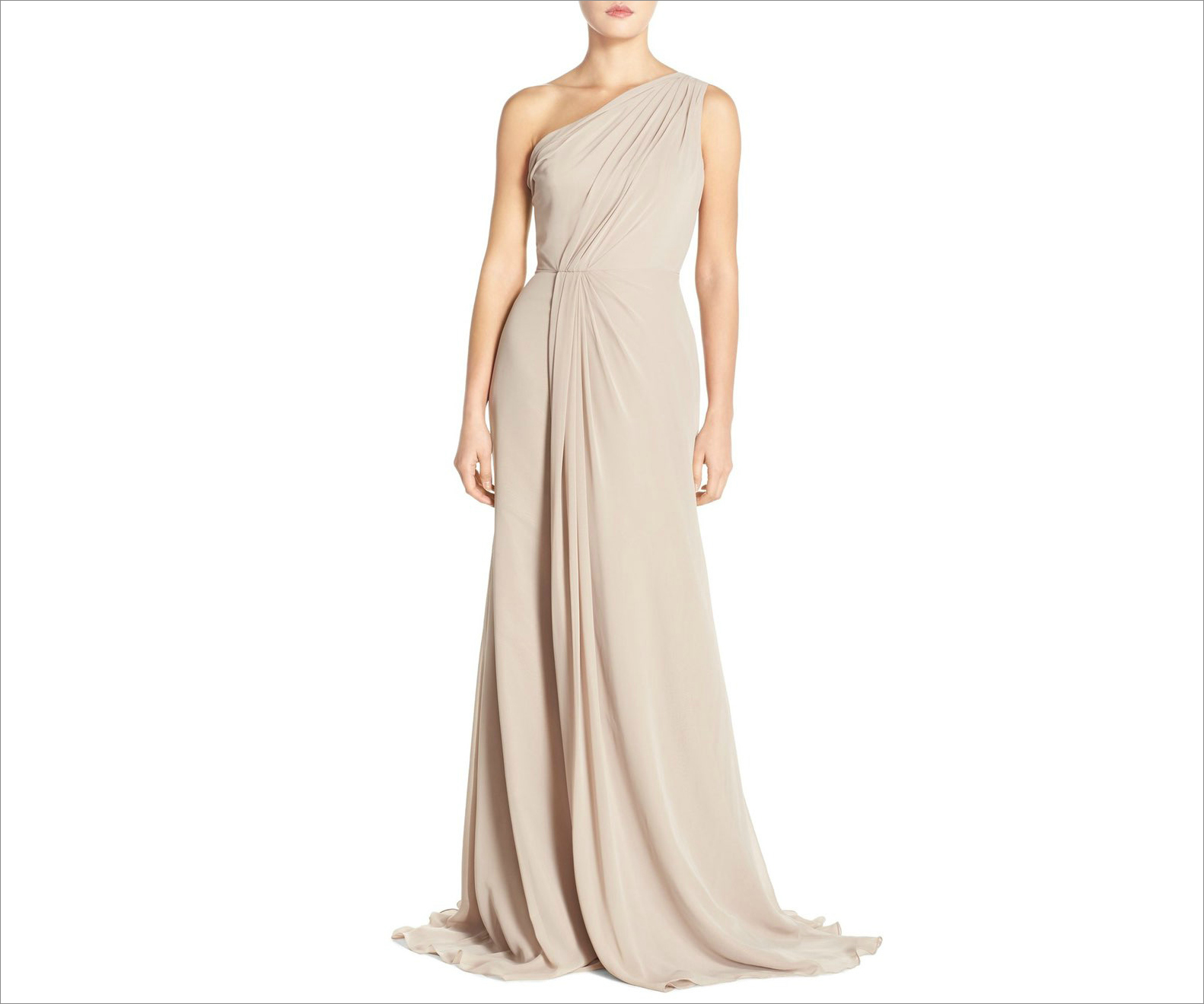 One shoulder chiffon bridesmaid dress by Monique Lhuillier bridesmaids