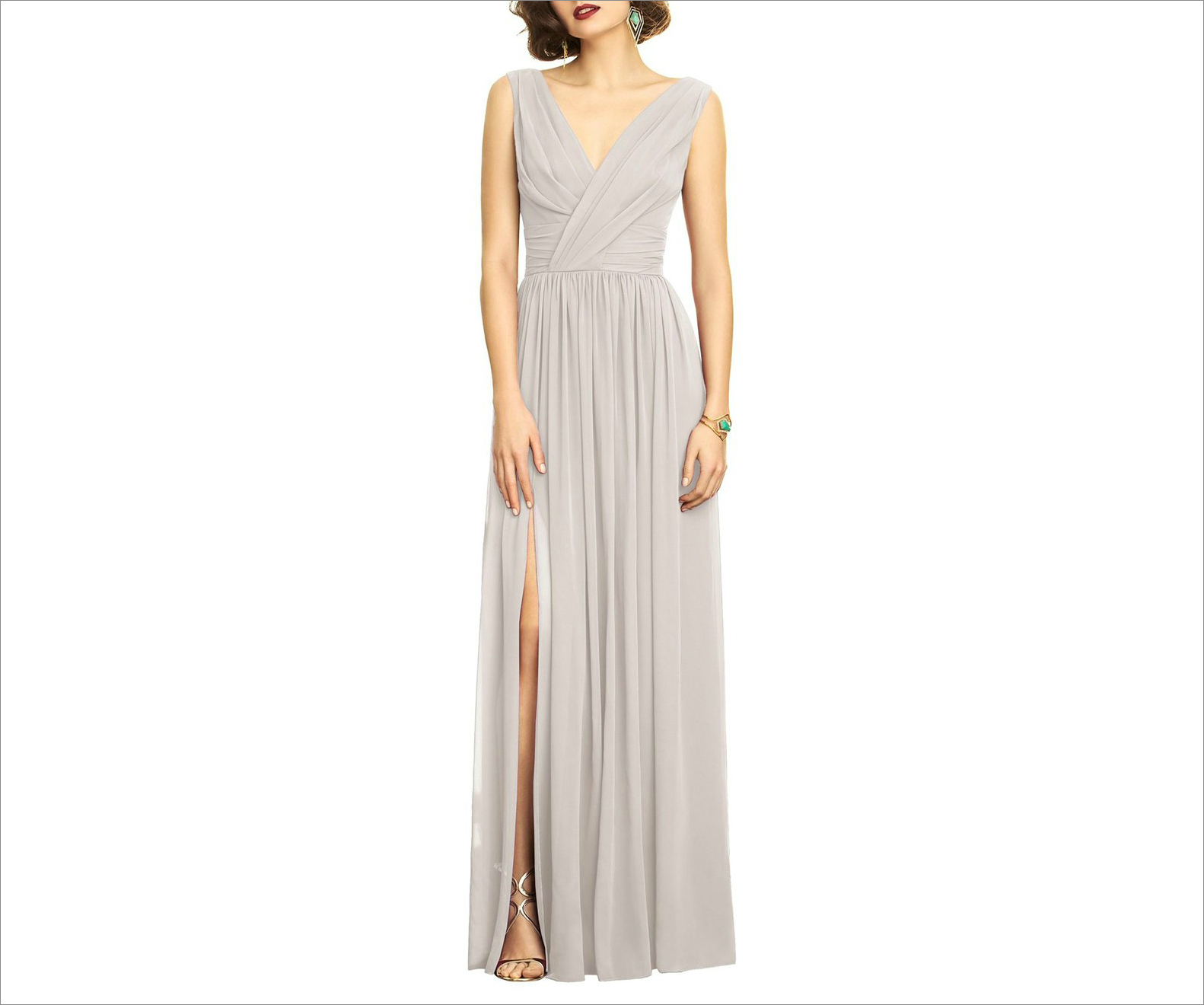 Surplice Ruched chiffon bridesmaid dress by Dessy Collection tan
