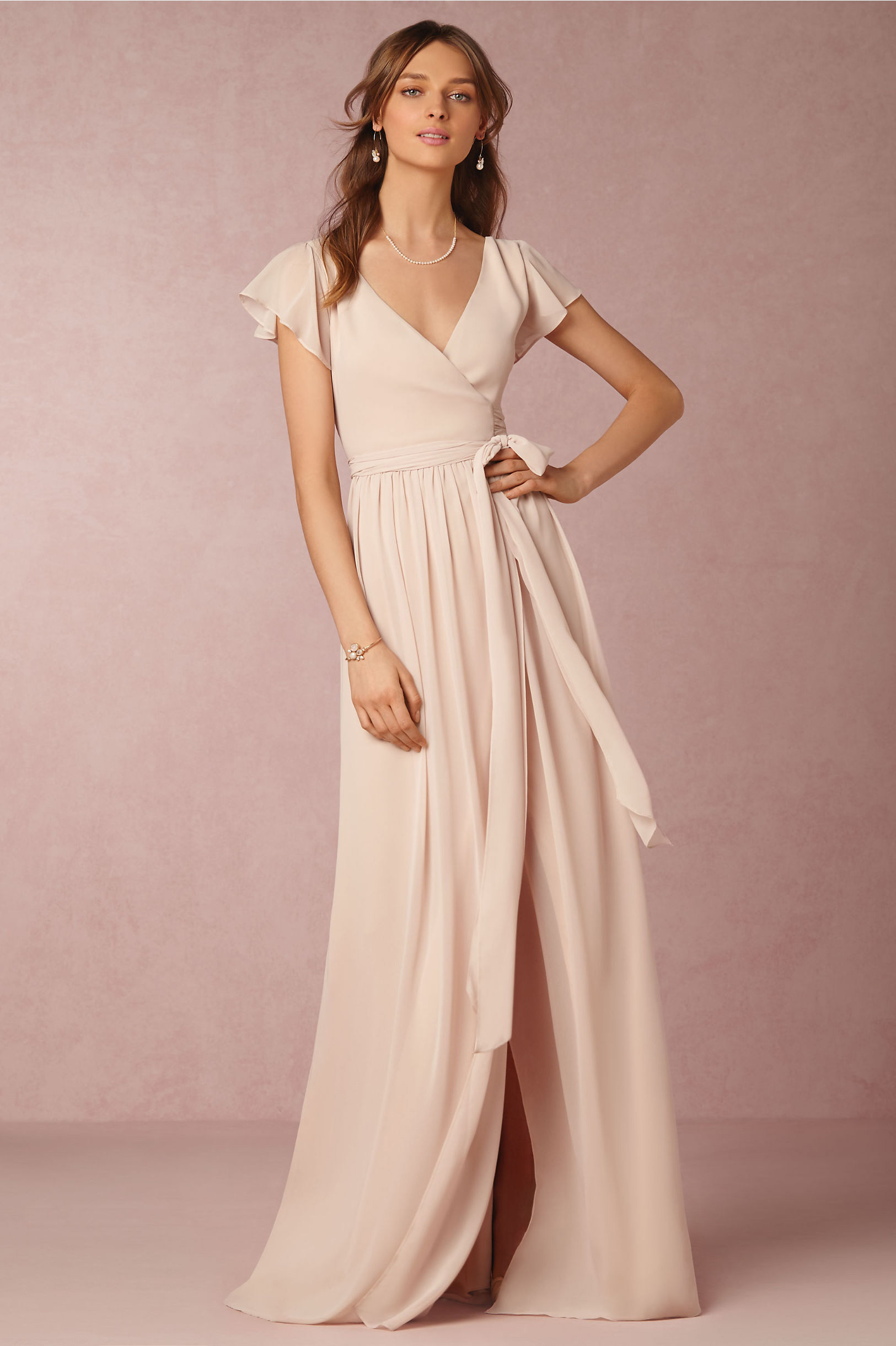 Zola wrap bridesmaid dress with short sleeves Joanna August BHLDN